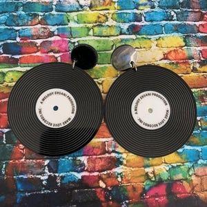 ✨Giant Black Acrylic Record Earrings So Fun!